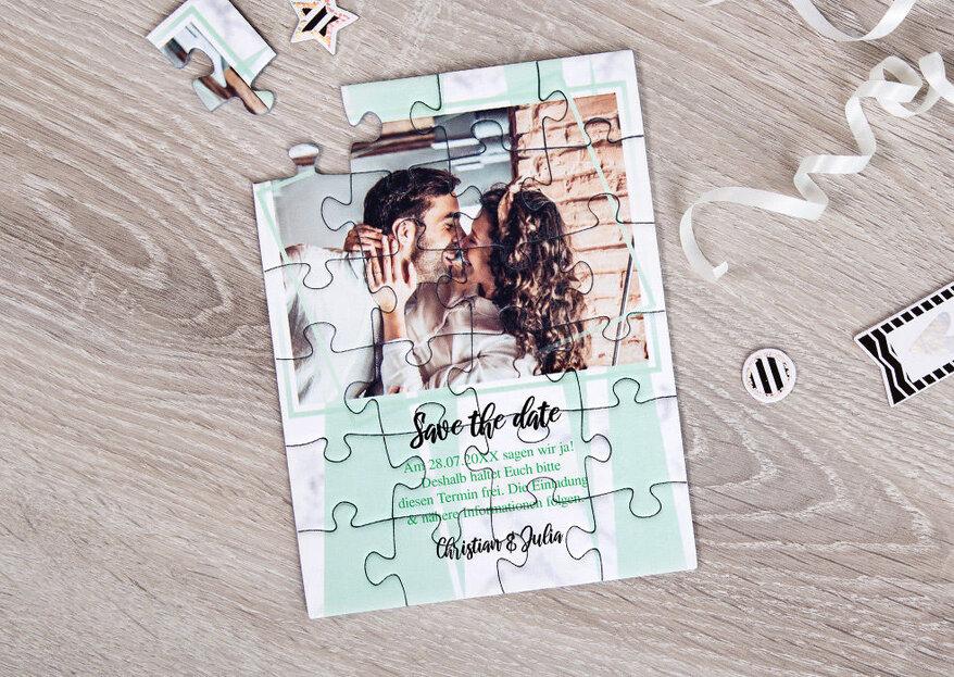 Einladungskarten zur Hochzeit als Puzzle