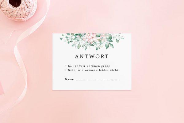 Antwortkarten zur Hochzeit Rosenpracht Kunstvoll Antwortkarten