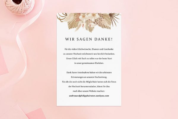 Dankeskarten zur Hochzeit Rosenpracht Orientalisch Dankeskarten