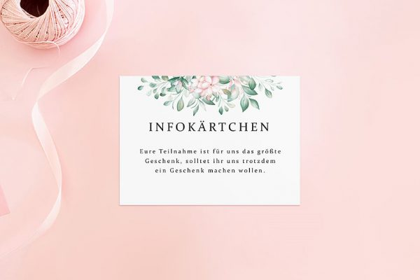 Extras Rosenpracht Kunstvoll Hochzeitsinfokärtchen
