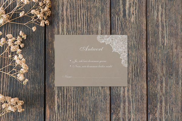 Antwortkarten zur Hochzeit Spitzentraum Crafty Antwortkarten