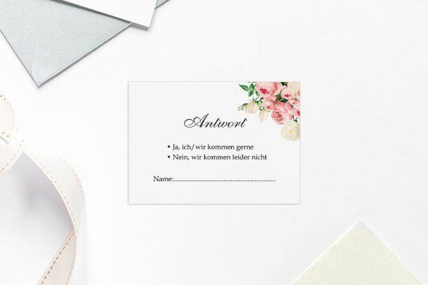 Antwortkarten zur Hochzeit Blumenherz Aromatisch Antwortkarten