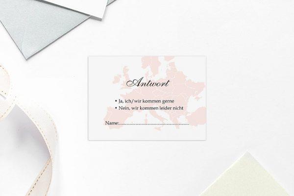 Antwortkarten zur Hochzeit Blumenherz Weltreise Antwortkarten