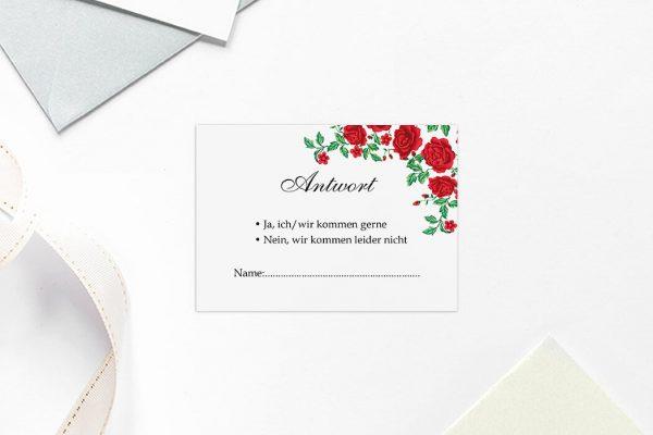Antwortkarten zur Hochzeit Blumenherz Rote Rosen Antwortkarten