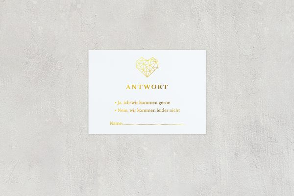 Antwortkarten zur Hochzeit Herzensangelegenheit dreidimensional Antwortkarten