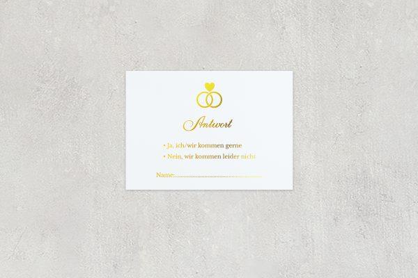 Antwortkarten zur Hochzeit Herzensangelegenheit in Ringform  Antwortkarten