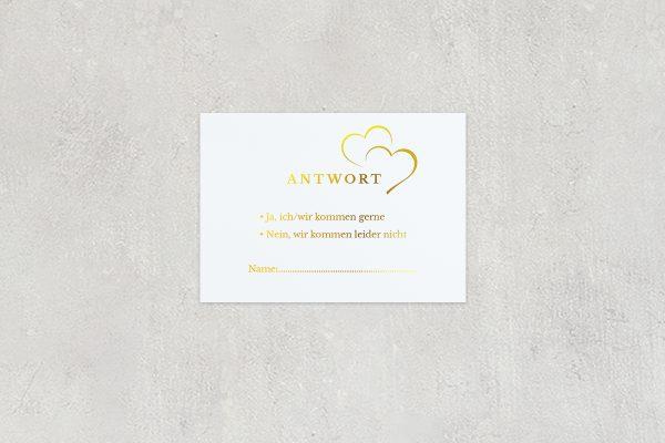Antwortkarten zur Hochzeit Herzensangelegenheit angedeutet Antwortkarten