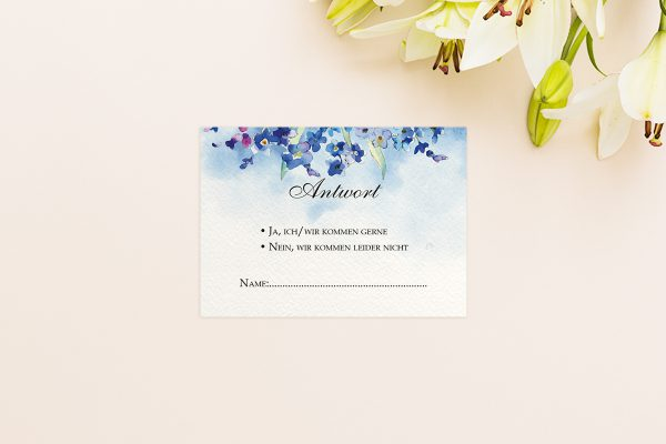 Antwortkarten zur Hochzeit Aquarell Vergissmeinnicht Antwortkarten