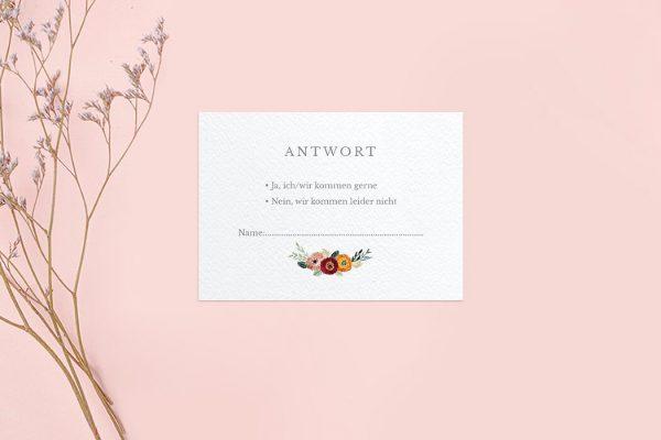 Antwortkarten zur Hochzeit Blumenbeet Sorglos Antwortkarten