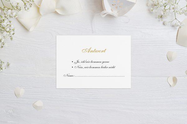 Antwortkarten zur Hochzeit Klassich Aufgelistet Antwortkarten