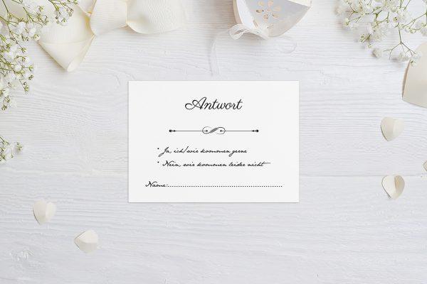 Antwortkarten zur Hochzeit Klassich Unendlich Antwortkarten