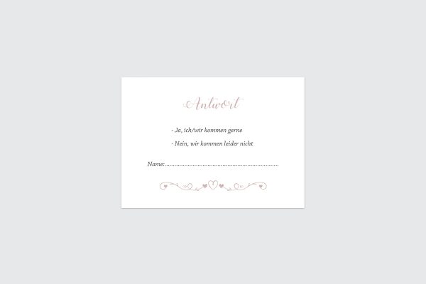Antwortkarten zur Hochzeit Tender Love  Verspielte Liebe Antwortkarten