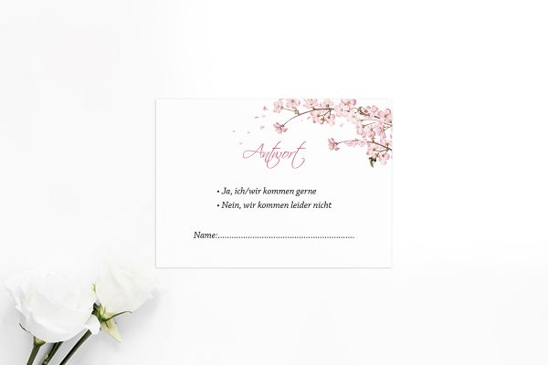 Antwortkarten zur Hochzeit Zeichnung Kirschblüte Antwortkarten