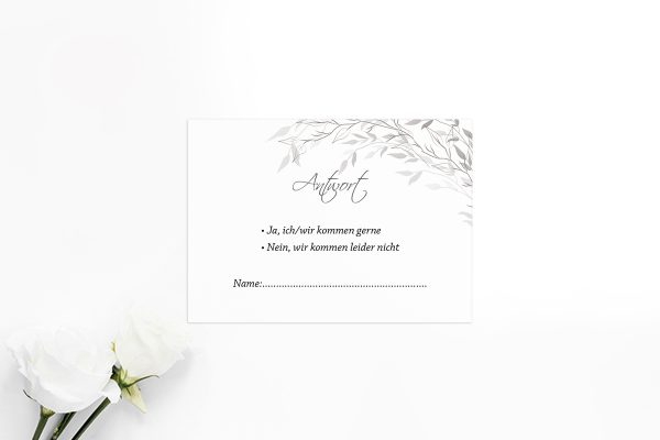 Antwortkarten zur Hochzeit Zeichnung Schwarz und Weiß Antwortkarten