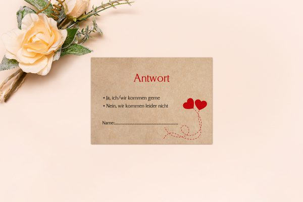 Antwortkarten zur Hochzeit Fingerabdruck Love  Antwortkarten