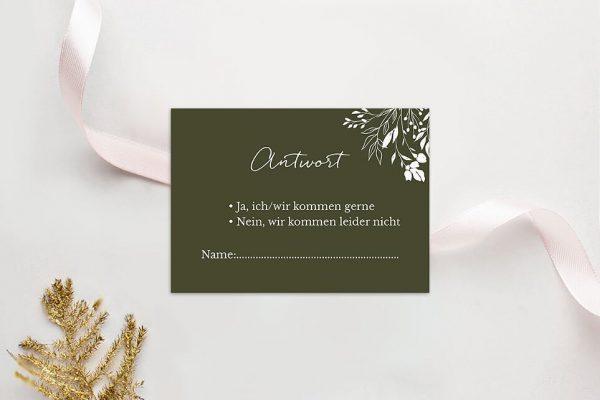 Antwortkarten zur Hochzeit Aufnahme mit Gräserkranz Antwortkarten