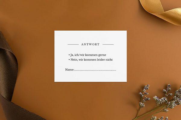 Antwortkarten zur Hochzeit Modern Monogramm mittig Antwortkarten