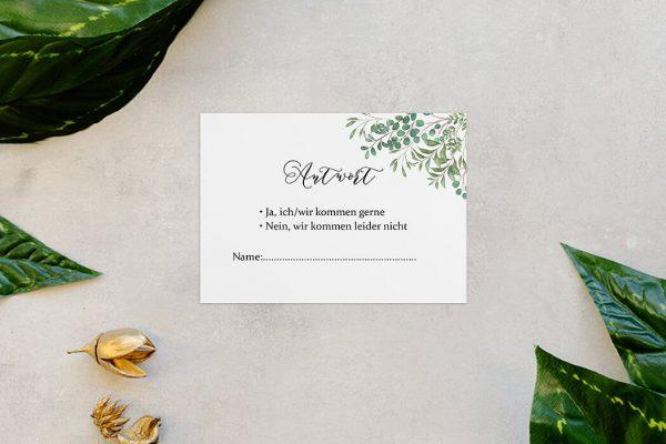 Antwortkarten zur Hochzeit Greenery Verspielt Antwortkarten