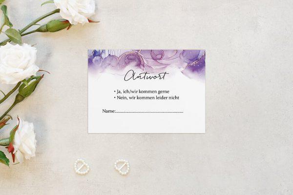 Antwortkarten zur Hochzeit Batik Gold gepunktet Antwortkarten