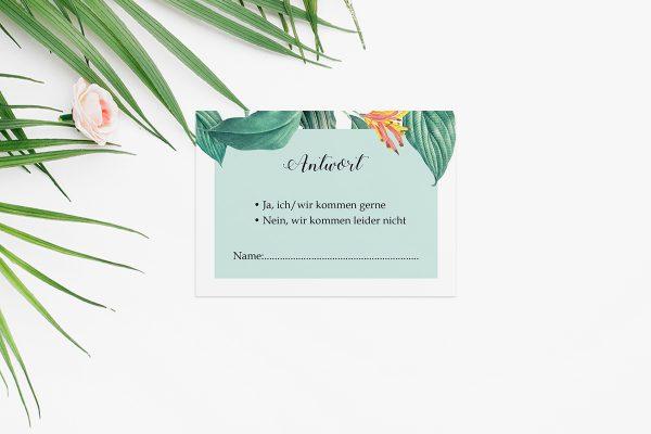 Antwortkarten zur Hochzeit Tropical Aechmea Antwortkarten