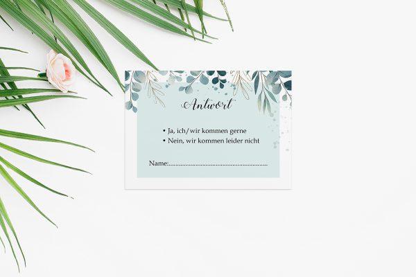 Antwortkarten zur Hochzeit Tropical Eukalyptus Antwortkarten