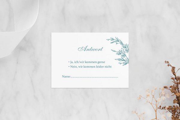 Antwortkarten zur Hochzeit Rosenpracht mit Ehrenkranz Antwortkarten