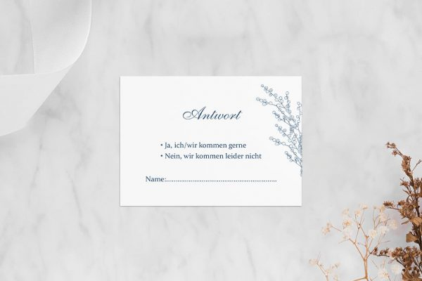 Antwortkarten zur Hochzeit Rosenpracht mit Tannenzapfen Antwortkarten