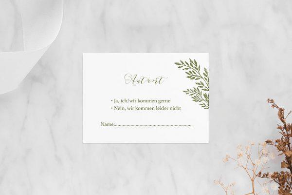 Antwortkarten zur Hochzeit Rosenpracht gleichmäßig Antwortkarten