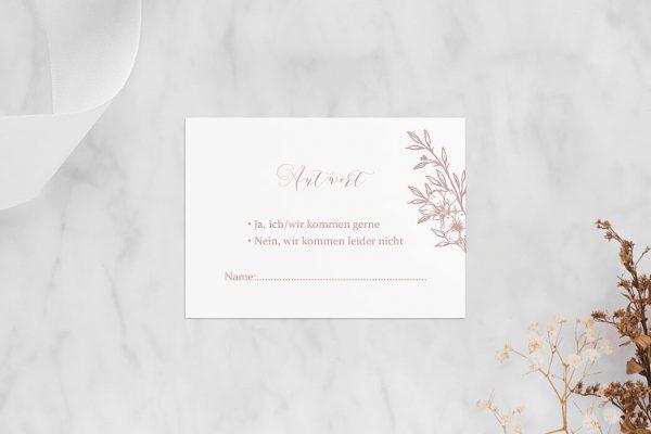 Antwortkarten zur Hochzeit Rosenpracht mit Korn Antwortkarten