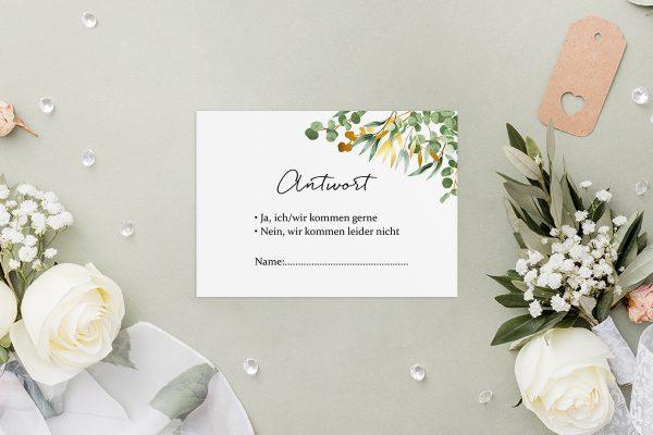 Antwortkarten zur Hochzeit Minimalistischer Kranz Dschungel Grün Antwortkarten