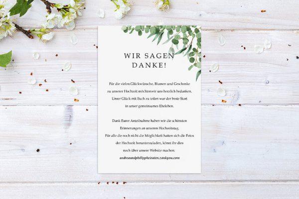 Dankeskarten zur Hochzeit Laubfall Schattig Dankeskarten