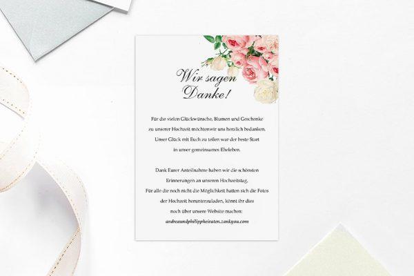 Dankeskarten zur Hochzeit Blumenherz Aromatisch Dankeskarten