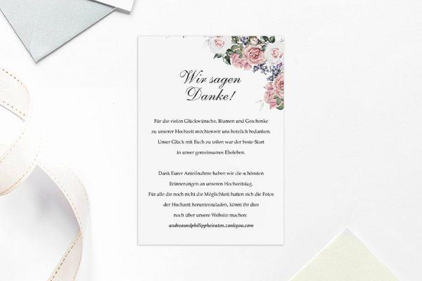 Dankeskarten zur Hochzeit Blumenherz Wohlriechend Dankeskarten