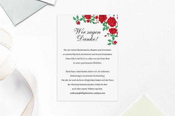 Dankeskarten zur Hochzeit Blumenherz Rote Rosen Dankeskarten
