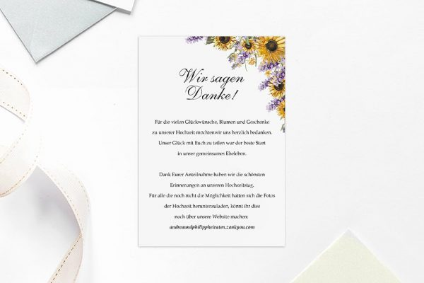Dankeskarten zur Hochzeit Blumenherz Sonnenblumen Dankeskarten