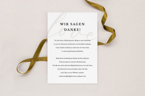 Dankeskarten zur Hochzeit Modern Bast Gegensätzlich Dankeskarten