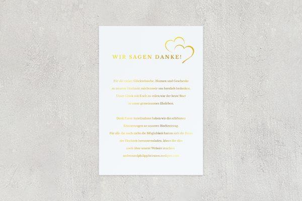 Dankeskarten zur Hochzeit Herzensangelegenheit angedeutet Dankeskarten