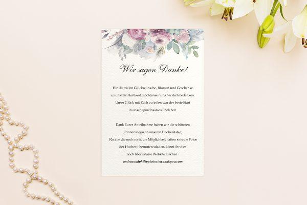 Dankeskarten zur Hochzeit Aquarell Klassisch Dankeskarten