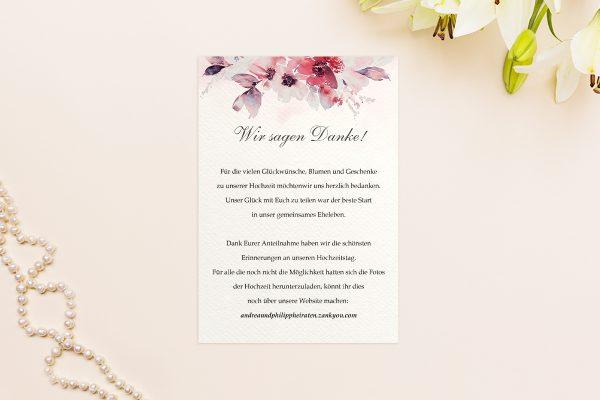 Dankeskarten zur Hochzeit Aquarell Rosa Dankeskarten