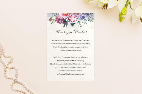 Dankeskarten zur Hochzeit Aquarell Sommerlich Dankeskarten