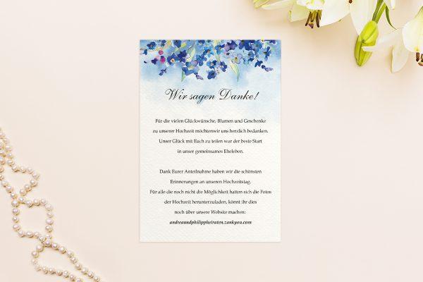 Dankeskarten zur Hochzeit Aquarell Vergissmeinnicht Dankeskarten