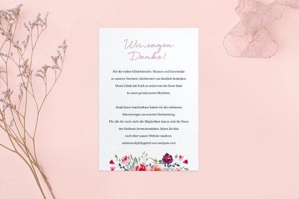 Dankeskarten zur Hochzeit Blumenbeet Luftig Dankeskarten