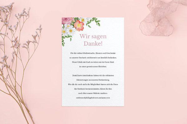 Dankeskarten zur Hochzeit Blumenbeet Apart Dankeskarten