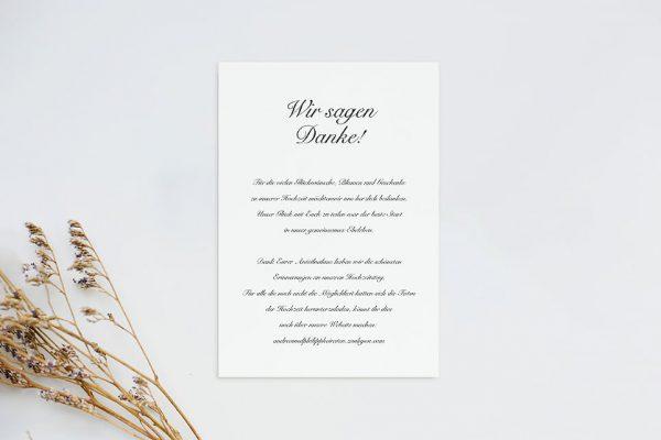 Dankeskarten zur Hochzeit Kalligraphie Elegant geschrieben Dankeskarten