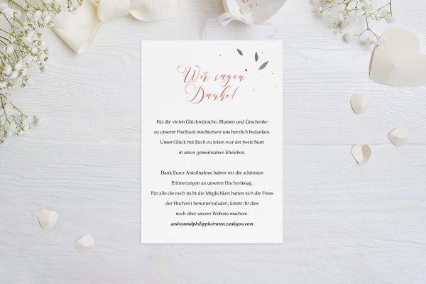 Dankeskarten zur Hochzeit Klassich Ruhig Dankeskarten