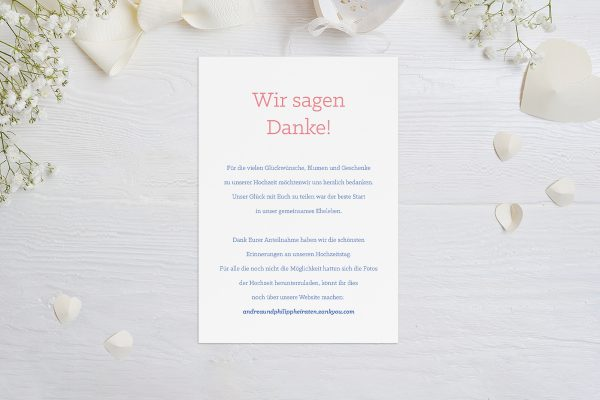 Dankeskarten zur Hochzeit Klassich Cool Dankeskarten