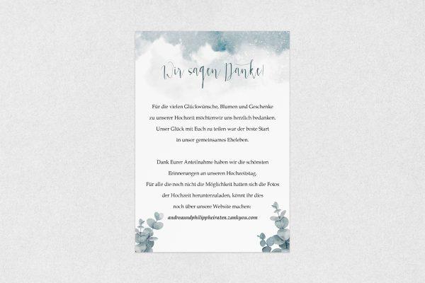 Dankeskarten zur Hochzeit Palmen dunkel Dankeskarten