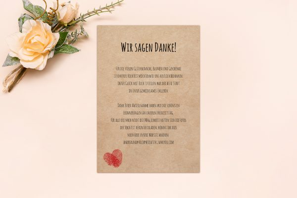 Dankeskarten zur Hochzeit Fingerabdruck Liebeserklärung Dankeskarten