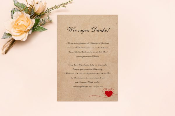 Dankeskarten zur Hochzeit Fingerabdruck Herzensding Dankeskarten