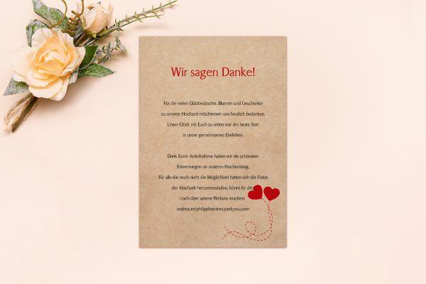 Dankeskarten zur Hochzeit Fingerabdruck Love  Dankeskarten